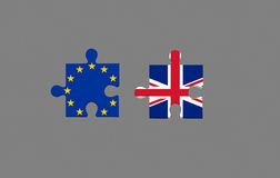 EU referendum in. Two piece of puzzle and eu referendum in united kingdom Stock Photo