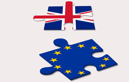 EU referendum in. Two piece of puzzle and eu referendum in united kingdom Royalty Free Stock Photography