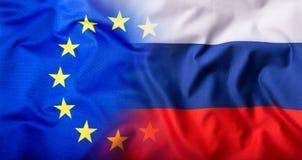 EU and Russia. EU Flag and Russia flag mixed Royalty Free Stock Photos