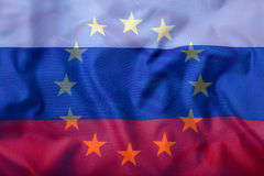 EU and Russia. EU Flag and Russia flag mixed Royalty Free Stock Photography
