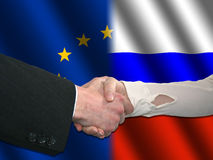 EU Russian handshake Royalty Free Stock Photo