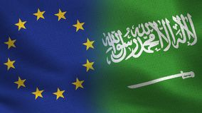 EU and Saudi Arabia Realistic Half Flags Together royalty free illustration