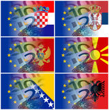 Eu and serbia croatia macedonia montenegro albania flag with eur Royalty Free Stock Photo
