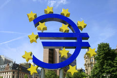 EU sign. In front of European Central Bank building Royalty Free Stock Image