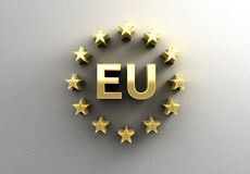 EU sign with stars - gold 3D quality render on the wall backgrou Stock Images