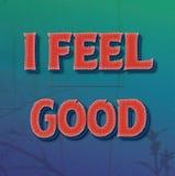 Eu sinto o bom texto vermelho com efeitos no inclinação do verde azul Fotos de Stock Royalty Free