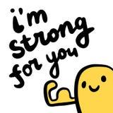 Eu sou forte para você entrego a rotulação tirada com amarelo bonito e braço do monstro ilustração do vetor
