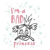 Eu sou princesa má Projeto de rotulação ilustração stock