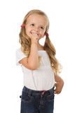 Eu sou tão excited - sorriso da menina Fotografia de Stock Royalty Free