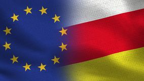 EU and South Ossetia Realistic Half Flags Together vector illustration