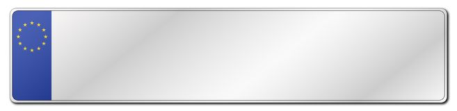 EU License Plate. An EU standard blank license plate isolated on a white background vector illustration