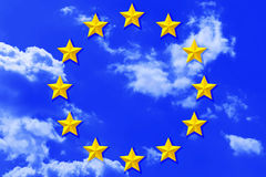 EU stars on sky Royalty Free Stock Images