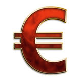 EU symbol in fiery red. Euro symbol in fiery red & gold isolated on white Royalty Free Stock Photography