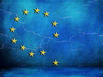 EU symbols looking worn, European Union falling apart, under strain. Royalty Free Stock Photography
