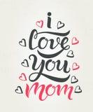 Eu te amo cartão da mamã textured imagens de stock