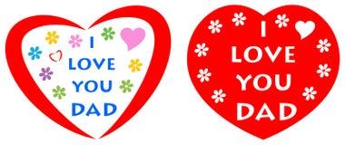 Eu te amo cartão do paizinho com coração vermelho ilustração royalty free