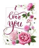 Eu te amo cartão do ` s do Valentim Fotografia de Stock Royalty Free