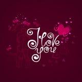 Eu te amo Cartão do vetor com corações e caligrafia à moda Fotos de Stock