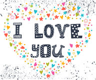 Eu te amo Cartão romântico com coração Fotos de Stock Royalty Free