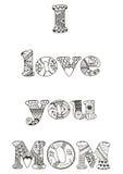 Eu te amo citações da mamã Zentangle estilizou a ilustração do vetor Imagem de Stock