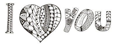 Eu te amo com coração o zentangle estilizou no fundo branco, Fotografia de Stock Royalty Free