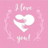 Eu te amo Coração e mãos com a rotulação do texto isolada no fundo cor-de-rosa Projeto para o cartão do feriado ilustração stock