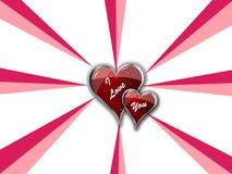 Eu te amo corações dobro Imagens de Stock Royalty Free