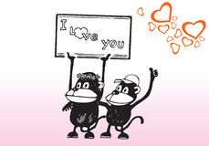 Eu te amo desenhos animados do sinal Fotografia de Stock Royalty Free