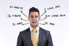 Eu te amo em todas as línguas imagens de stock