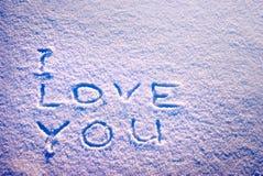Eu te amo em uma neve Fotografia de Stock Royalty Free