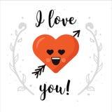 Eu te amo Emoticon do coração isolado com decoração Projeto moderno para o cartão, o cartaz ou a bandeira Foto de Stock Royalty Free