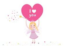 Eu te amo escrevendo a fada que guarda o vetor do cartão do dia de Valentim do coração Imagem de Stock Royalty Free
