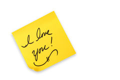 Eu te amo escrito à mão em uma nota Fotos de Stock Royalty Free