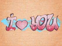 Eu te amo estilo dos grafittis ilustração royalty free