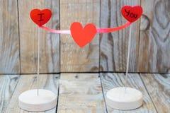 Eu te amo formado com corações vermelhos Imagens de Stock