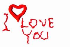 Eu te amo fundo Vermelho no branco Fundo do dia do Valentim postcard fotos de stock
