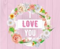 Eu te amo inscrição Cartão, convite ou cartaz do vetor Projete com flores, rosas, e texto Útil para Fotos de Stock Royalty Free