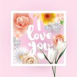 Eu te amo inscrição Cartão, convite ou cartaz do vetor Projete com flores, rosas, e texto Útil para Fotos de Stock
