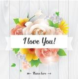 Eu te amo inscrição Cartão, convite ou cartaz do vetor Projete com flores, rosas, e texto Útil para Imagens de Stock Royalty Free