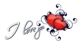 Eu te amo inscrição com coração batendo para o dia de Valentim ilustração royalty free