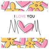 Eu te amo mamã - mensagem - cartão - sira de mãe ao dia do ` s Fotos de Stock