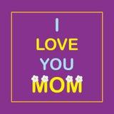 Eu te amo mamã Bandeira ou cartaz para o dia de mãe com as flores da maçã Fotos de Stock