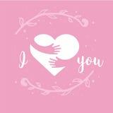 Eu te amo Mim coração você Coração e mãos com a rotulação isolada no fundo cor-de-rosa Projeto para o cartão do feriado ilustração royalty free
