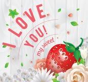 Eu te amo minha inscrição doce Cartão, convite ou cartaz do vetor Projete com stawberry, as flores, rosas, e Fotografia de Stock