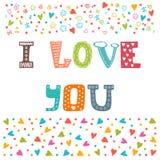 Eu te amo Molde do cartão do Valentim do St Cartão bonito Imagem de Stock Royalty Free