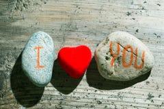 Eu te amo na pedra Imagens de Stock Royalty Free