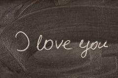 Eu te amo no quadro-negro da escola Foto de Stock Royalty Free