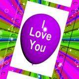 Eu te amo o balão representa o amor e os pares Fotos de Stock Royalty Free