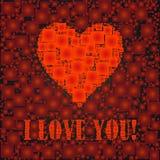 Eu te amo o texto e o coração assinam, projetado com quadrados Imagem de Stock Royalty Free