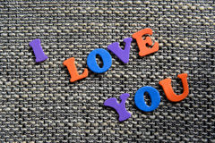Eu te amo palavra com letras Fotografia de Stock